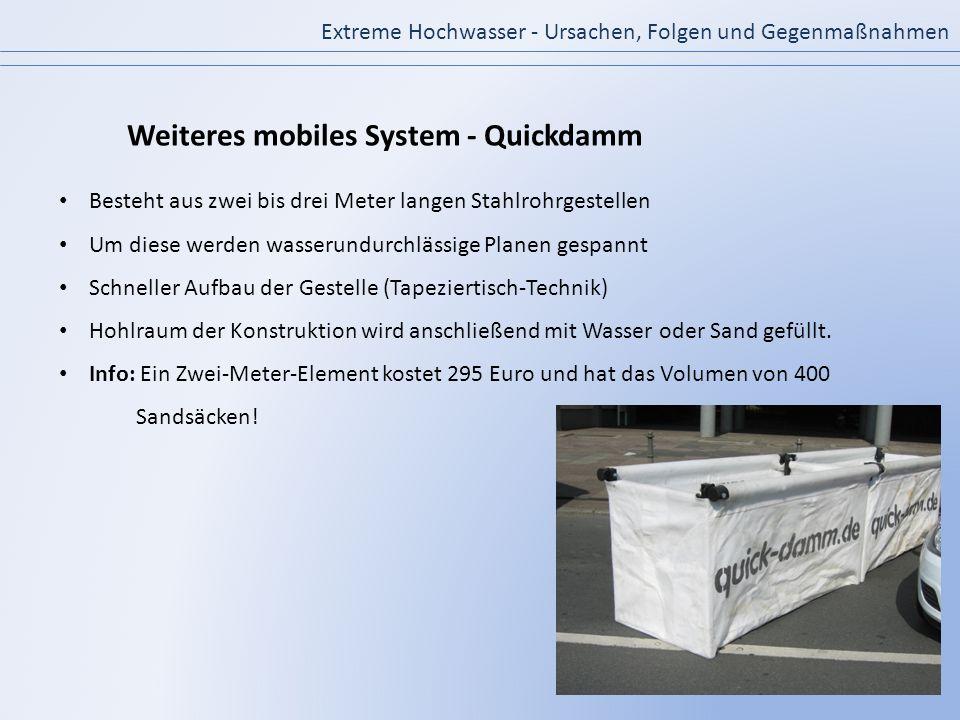 Extreme Hochwasser - Ursachen, Folgen und Gegenmaßnahmen Weiteres mobiles System - Quickdamm Besteht aus zwei bis drei Meter langen Stahlrohrgestellen