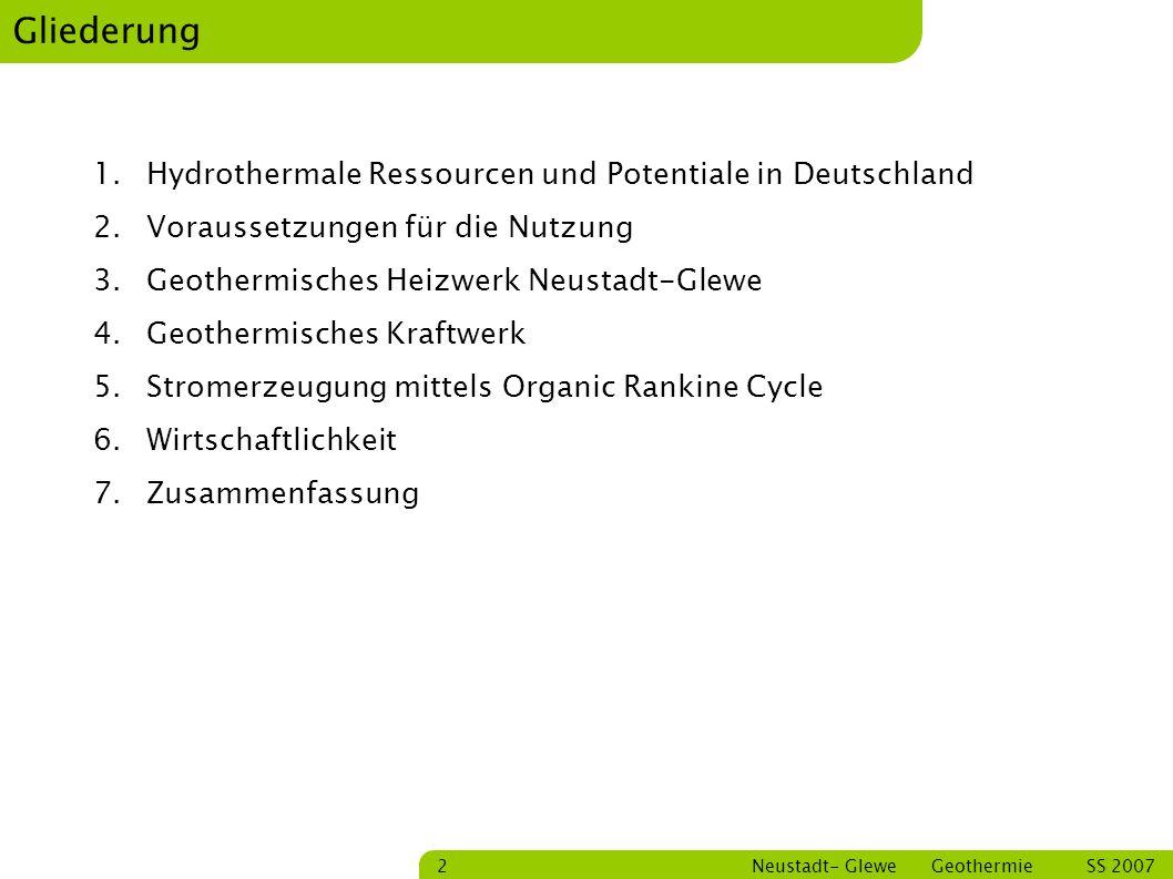 Bastian Schmitt Neustadt- Glewe Geothermie SS 2007 13 ORC- Prozess Quelle: Silke Köhler,2005 5 – 6 Enthitzung 6 – 1 Kondensation 1 - 2 Druckerhöhung 2 – 3 Vorwärmung 3 – 4 Verdampfung 4 – 5 Entspannung