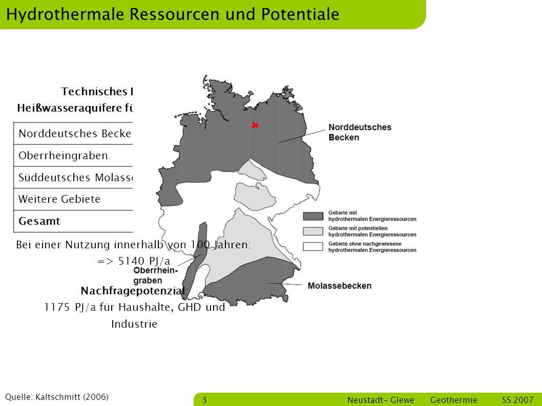 Bastian Schmitt Neustadt- Glewe Geothermie SS 2007 14 Wirkungsgrad In Anlehnung an Quelle: Silke Köhler,2005 Carnot-Wirkungsgrad = 1 – Tu/To ~ 14,2 % Tu = 30 °C = 302 K To = 80 °C = 353 K Turbinen-Wirkungsgrad = 70 % Gesamtwirkungsgrad etwa 6,5 % Eigenverbrauch: Pumpe Thermalwasser - 140 kW Pumpe Kühlwasser - 15 kW Erzeugung: 230 kW Rest: 75 kW