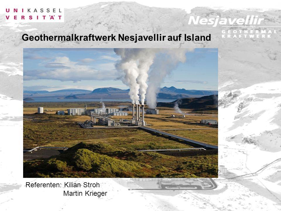 4.2 Kraftwerk Nesjavellir - Betreiber: Energiewerke Reykjavik - gegründet: 1999 - (Zusammenschluss von Strom-, Wasser und Heizwerke Reykjavik) -Tiefe zwischen 1.000 und 2.000 Metern Tiefen-Geothermie / Durchmesser 150 - 230 mm - Temperatur bis 380°C - insgesamt 22 Bohrlöcher (5 davon dauerhaft geschlossen) - 60 MWH thermisch pro Bohrloch 30 MWH thermisch nutzbar - Gesamtleistung von 300 MW thermisch und 120 MW elektrisch - Versorgung von 155.000 Einwohner (97% der Häuser von Reykjavik) - Investitionskosten rund 338 Millionen Dollar Daten und Fakten