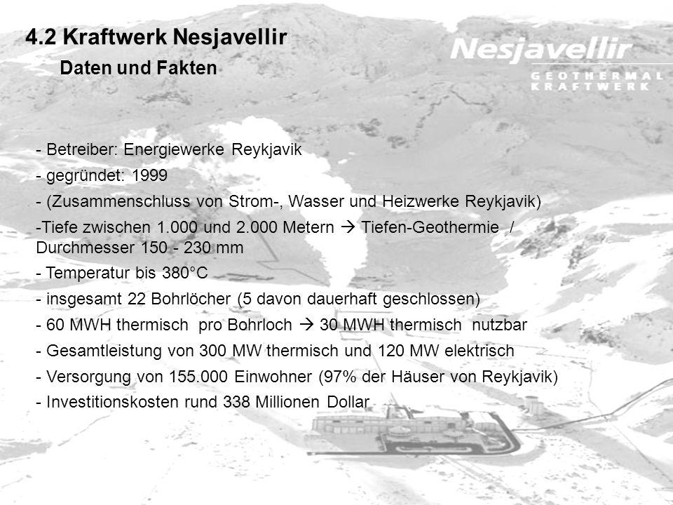 4.2 Kraftwerk Nesjavellir - Betreiber: Energiewerke Reykjavik - gegründet: 1999 - (Zusammenschluss von Strom-, Wasser und Heizwerke Reykjavik) -Tiefe