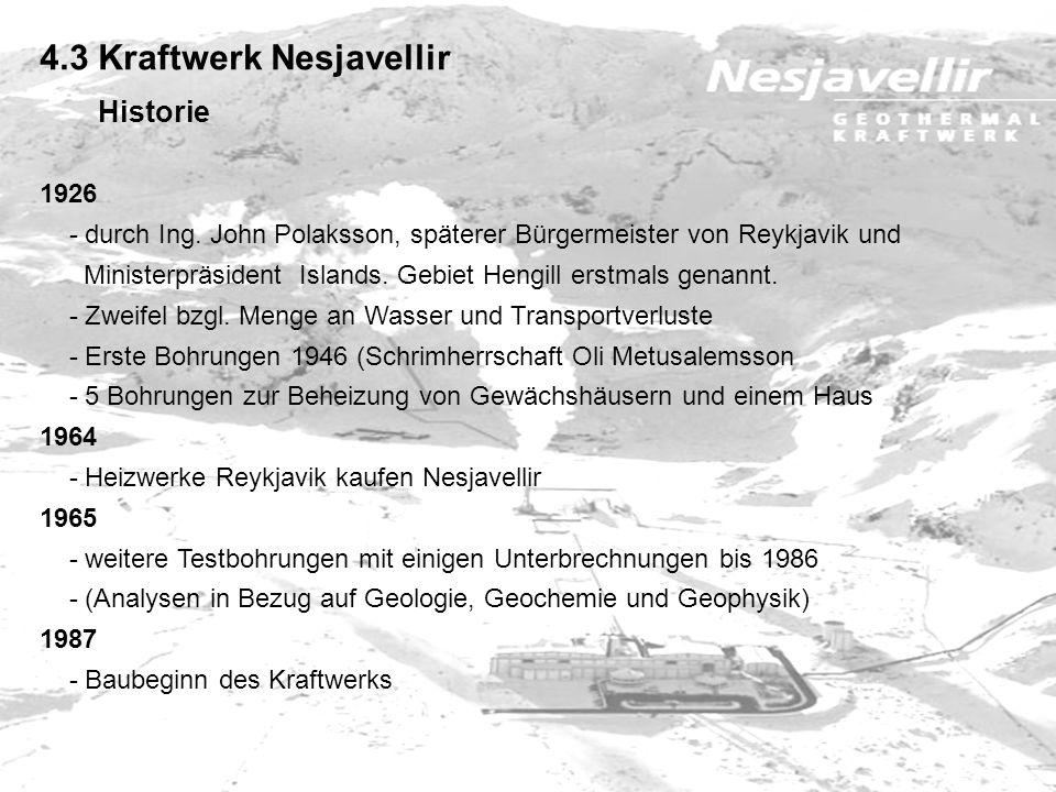 4.3 Kraftwerk Nesjavellir Historie 1926 - durch Ing. John Polaksson, späterer Bürgermeister von Reykjavik und Ministerpräsident Islands. Gebiet Hengil
