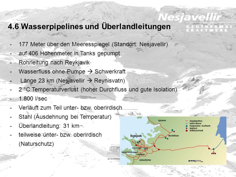 -177 Meter über den Meeresspiegel (Standort: Nesjavellir) -auf 406 Höhenmeter in Tanks gepumpt -Rohrleitung nach Reykjavik -Wasserfluss ohne Pumpe Sch