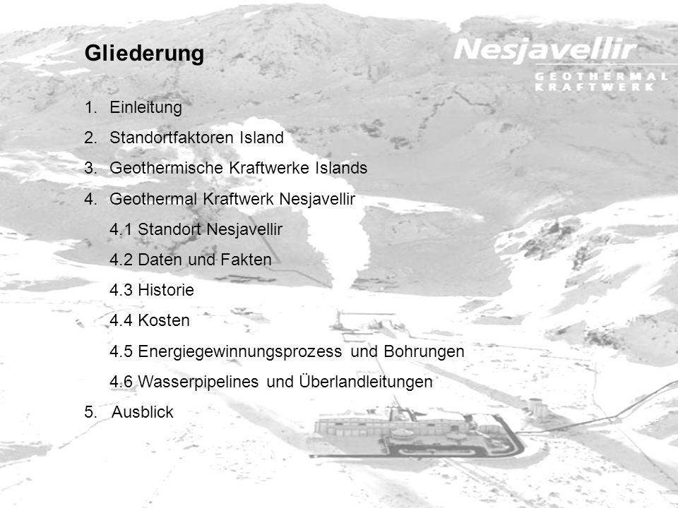 Gliederung 1.Einleitung 2.Standortfaktoren Island 3.Geothermische Kraftwerke Islands 4.Geothermal Kraftwerk Nesjavellir 4.1 Standort Nesjavellir 4.2 D