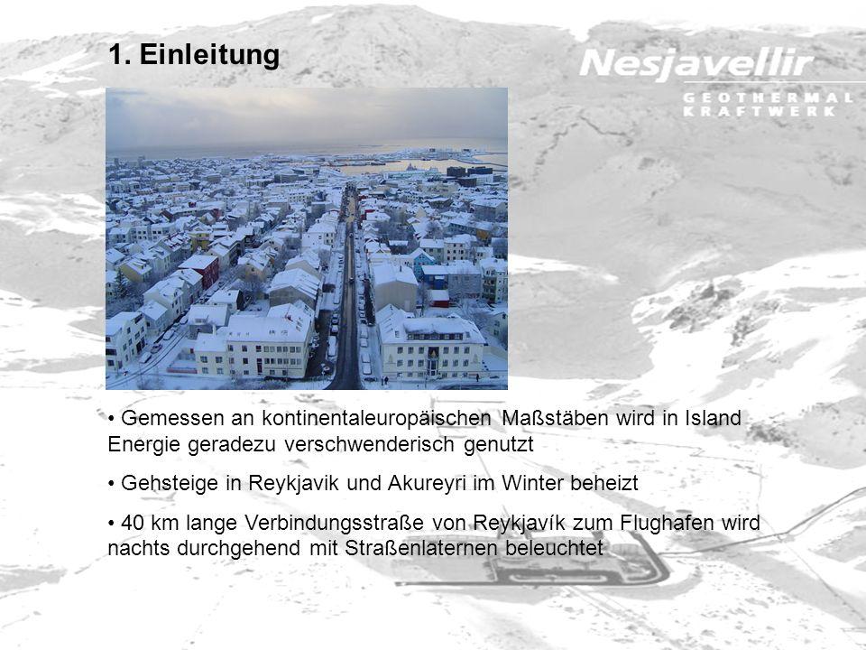 4.3 Kraftwerk Nesjavellir 1990 - erster Bauabschnitt fertig gestellt (4 Bohrlöcher mit 100 MW thermisch Produktionskapazität von 560 l/s) 1995 - nächster Schritt +1 Bohrloch, Wärmetauscher und Entgaser PK: 840 l/s (150 MW thermisch) 1998 - die ersten beiden Dampfturbinen gehen in Betrieb - Erweiterung auf 200 MW thermisch; Wasserproduktion: 1.100 l/s - elektrische Leistung: 60 MW 2005 - Erweiterung auf 300 MW thermisch; Wasserproduktion: 1.800 l/s - elektrische Leistung: 120 MW
