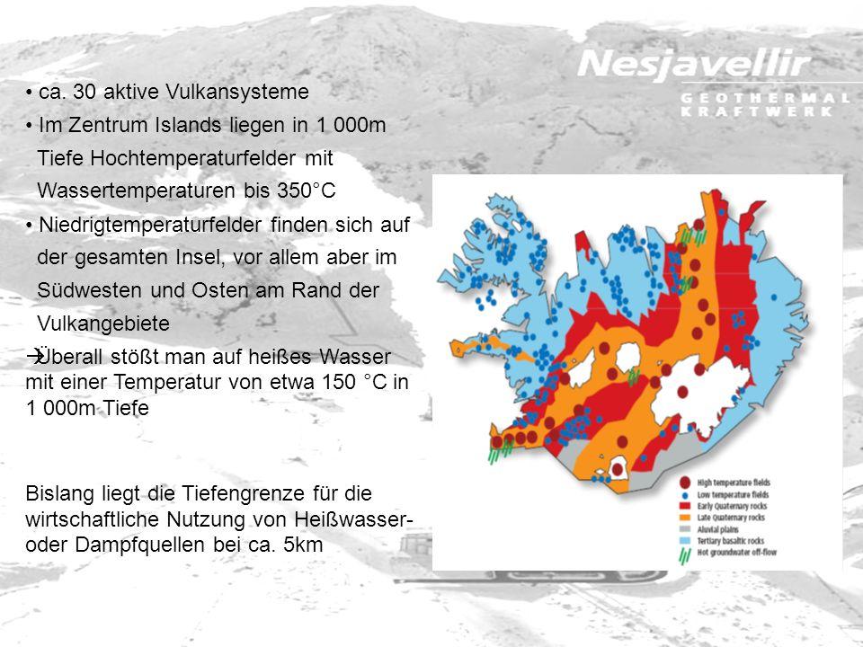 ca. 30 aktive Vulkansysteme Im Zentrum Islands liegen in 1 000m Tiefe Hochtemperaturfelder mit Wassertemperaturen bis 350°C Niedrigtemperaturfelder fi