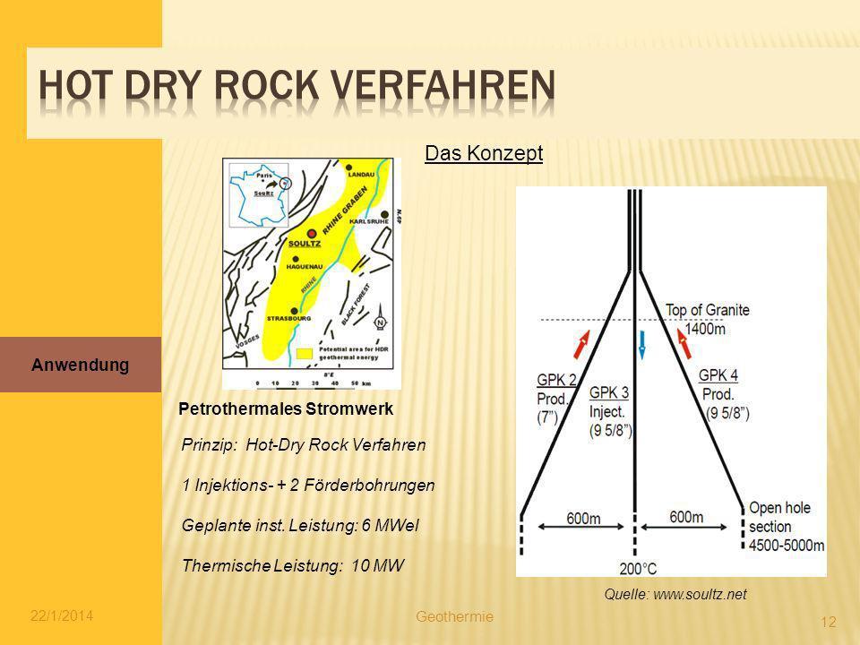 22/1/2014 12 Petrothermales Stromwerk Prinzip: Hot-Dry Rock Verfahren 1 Injektions- + 2 Förderbohrungen Geplante inst. Leistung: 6 MWel Thermische Lei