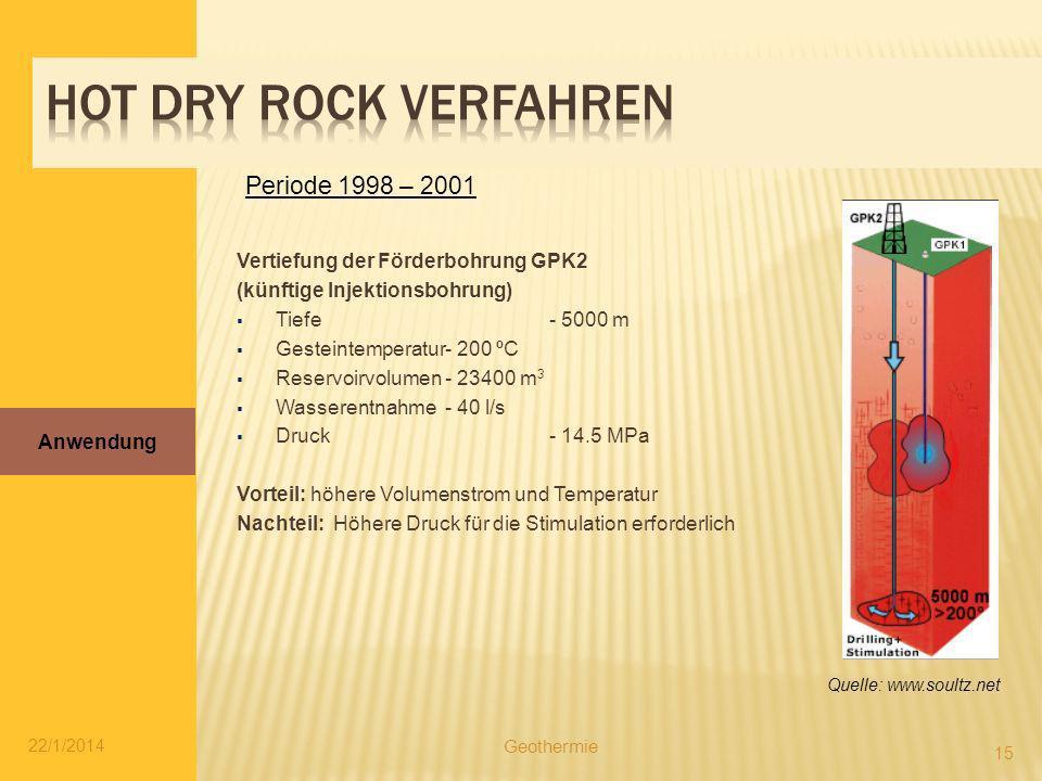 22/1/2014 15 Vertiefung der Förderbohrung GPK2 (künftige Injektionsbohrung) Tiefe- 5000 m Gesteintemperatur- 200 ºC Reservoirvolumen- 23400 m 3 Wasser