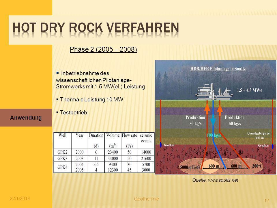 22/1/2014 17 Anwendung Geothermie Quelle: www.soultz.net Inbetriebnahme des wissenschaftlichen Pilotanlage- Stromwerks mit 1.5 MW(el.) Leistung Therma
