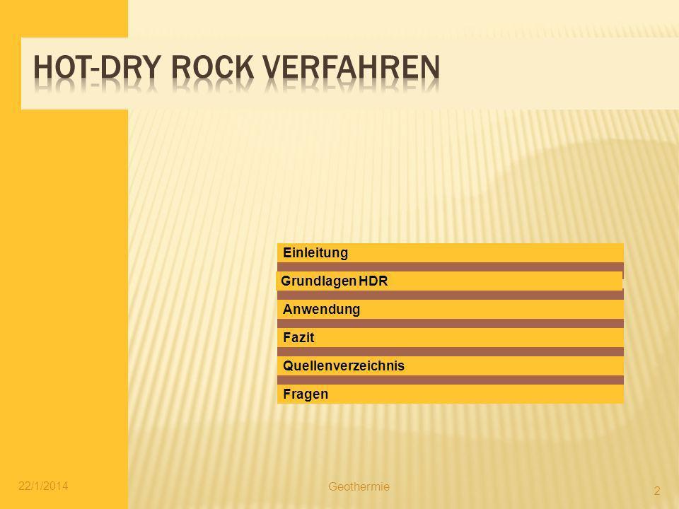 Einleitung Fazit Fragen Quellenverzeichnis Grundlagen HDR Anwendung 22/1/2014 2 Geothermie
