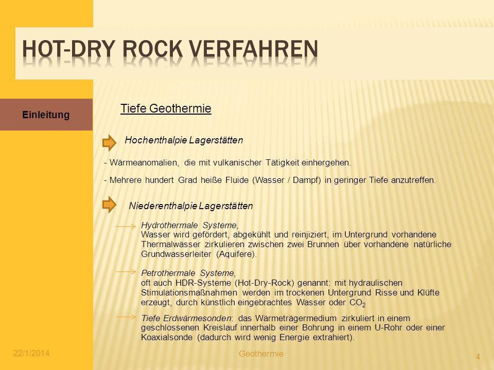 Einleitung 22/1/2014 4 Geothermie Tiefe Geothermie - Wärmeanomalien, die mit vulkanischer Tätigkeit einhergehen. - Mehrere hundert Grad heiße Fluide (