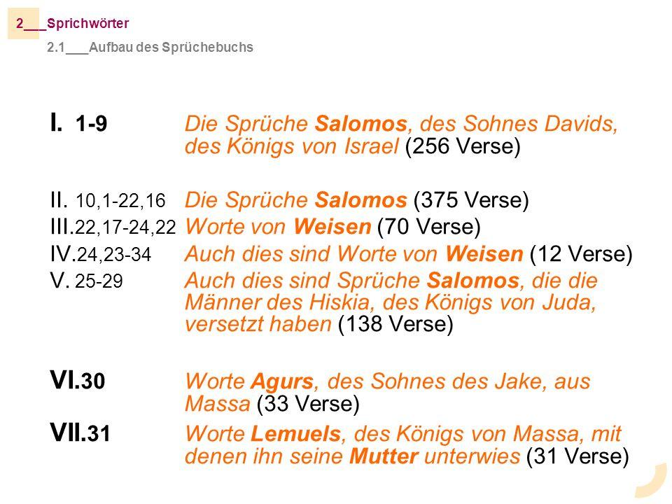 I. 1-9Die Sprüche Salomos, des Sohnes Davids, des Königs von Israel (256 Verse) II. 10,1-22,16 Die Sprüche Salomos (375 Verse) III. 22,17-24,22 Worte