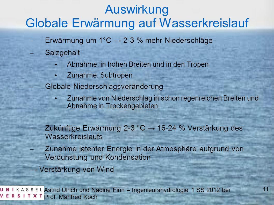 Astrid Ulrich und Nadine Finn – Ingenieurshydrologie 1 SS 2012 bei Prof. Manfred Koch 11 Auswirkung Globale Erwärmung auf Wasserkreislauf – Erwärmung