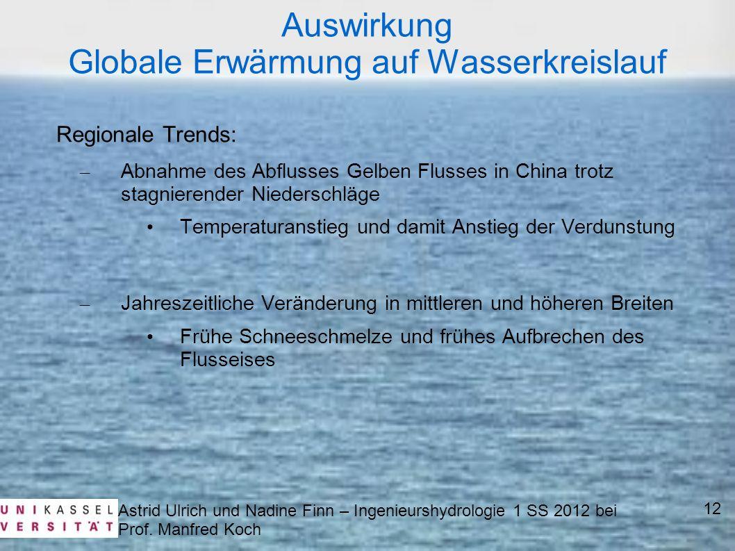 Astrid Ulrich und Nadine Finn – Ingenieurshydrologie 1 SS 2012 bei Prof. Manfred Koch 12 Auswirkung Globale Erwärmung auf Wasserkreislauf Regionale Tr