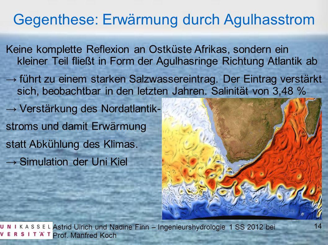 Astrid Ulrich und Nadine Finn – Ingenieurshydrologie 1 SS 2012 bei Prof. Manfred Koch Keine komplette Reflexion an Ostküste Afrikas, sondern ein klein
