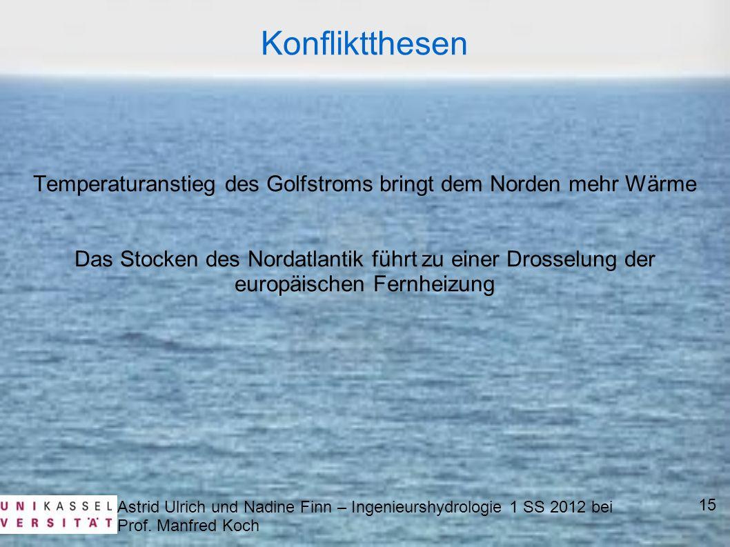 Astrid Ulrich und Nadine Finn – Ingenieurshydrologie 1 SS 2012 bei Prof. Manfred Koch 15 Konfliktthesen Temperaturanstieg des Golfstroms bringt dem No