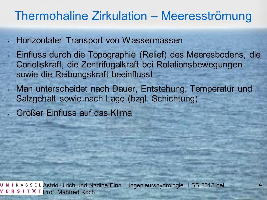 Astrid Ulrich und Nadine Finn – Ingenieurshydrologie 1 SS 2012 bei Prof. Manfred Koch Horizontaler Transport von Wassermassen Einfluss durch die Topog