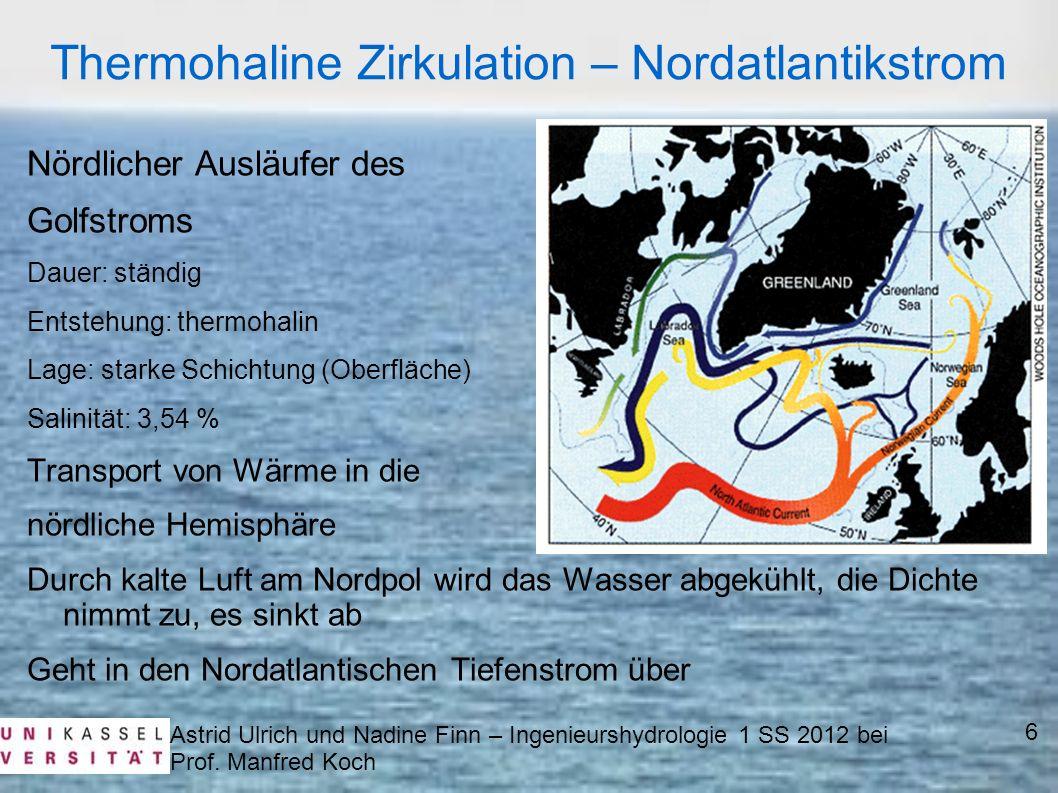 Nördlicher Ausläufer des Golfstroms Dauer: ständig Entstehung: thermohalin Lage: starke Schichtung (Oberfläche) Salinität: 3,54 % Transport von Wärme
