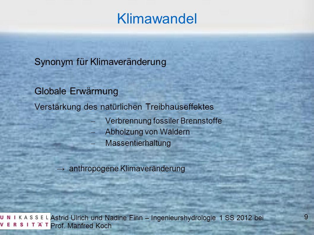Astrid Ulrich und Nadine Finn – Ingenieurshydrologie 1 SS 2012 bei Prof. Manfred Koch 9 Klimawandel Synonym für Klimaveränderung Globale Erwärmung Ver