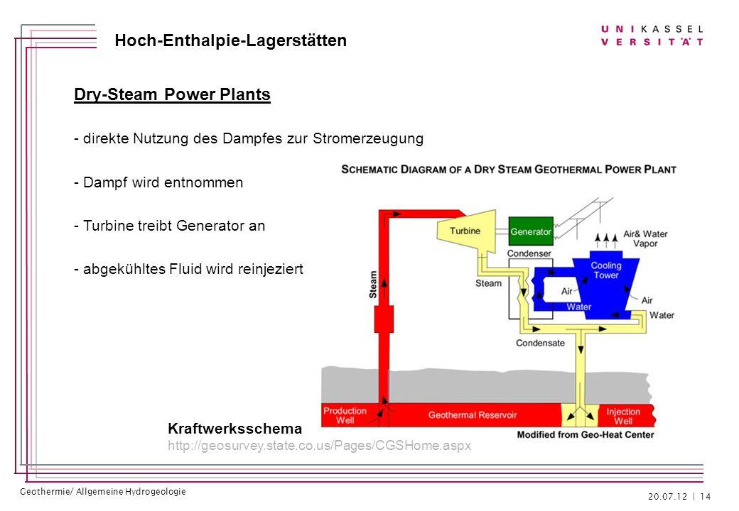 Geothermie/ Allgemeine Hydrogeologie Hoch-Enthalpie-Lagerstätten Dry-Steam Power Plants - direkte Nutzung des Dampfes zur Stromerzeugung - Dampf wird
