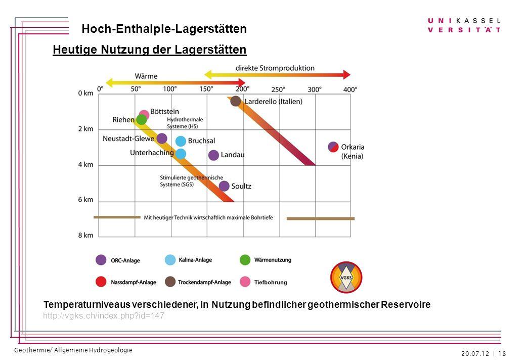 Geothermie/ Allgemeine Hydrogeologie Hoch-Enthalpie-Lagerstätten Heutige Nutzung der Lagerstätten 20.07.12 | 18 Temperaturniveaus verschiedener, in Nu