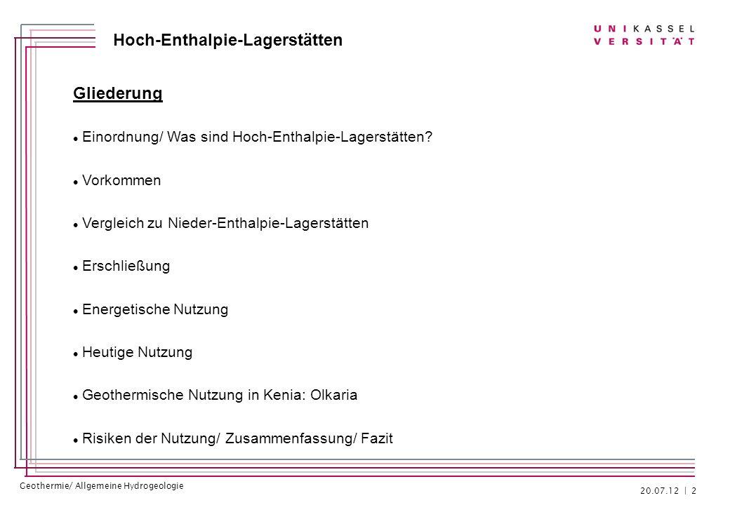 Geothermie/ Allgemeine Hydrogeologie Hoch-Enthalpie-Lagerstätten Risiken der Nutzung - Hebungen - Setzungen - Entstehung von Erdbeben durch Bohrungen - dadurch bereits Schließung von Kraftwerken - z.B.