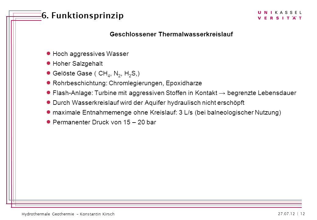 Hydrothermale Geothermie – Konstantin Kirsch Geschlossener Thermalwasserkreislauf Hoch aggressives Wasser Hoher Salzgehalt Gelöste Gase ( CH 4, N 2, H