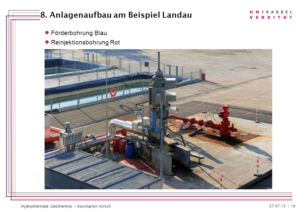 Hydrothermale Geothermie – Konstantin Kirsch Förderbohrung Blau Reinjektionsbohrung Rot 27.07.12 | 16 8. Anlagenaufbau am Beispiel Landau