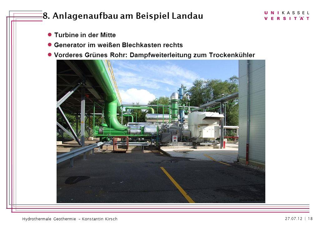Hydrothermale Geothermie – Konstantin Kirsch Turbine in der Mitte Generator im weißen Blechkasten rechts Vorderes Grünes Rohr: Dampfweiterleitung zum
