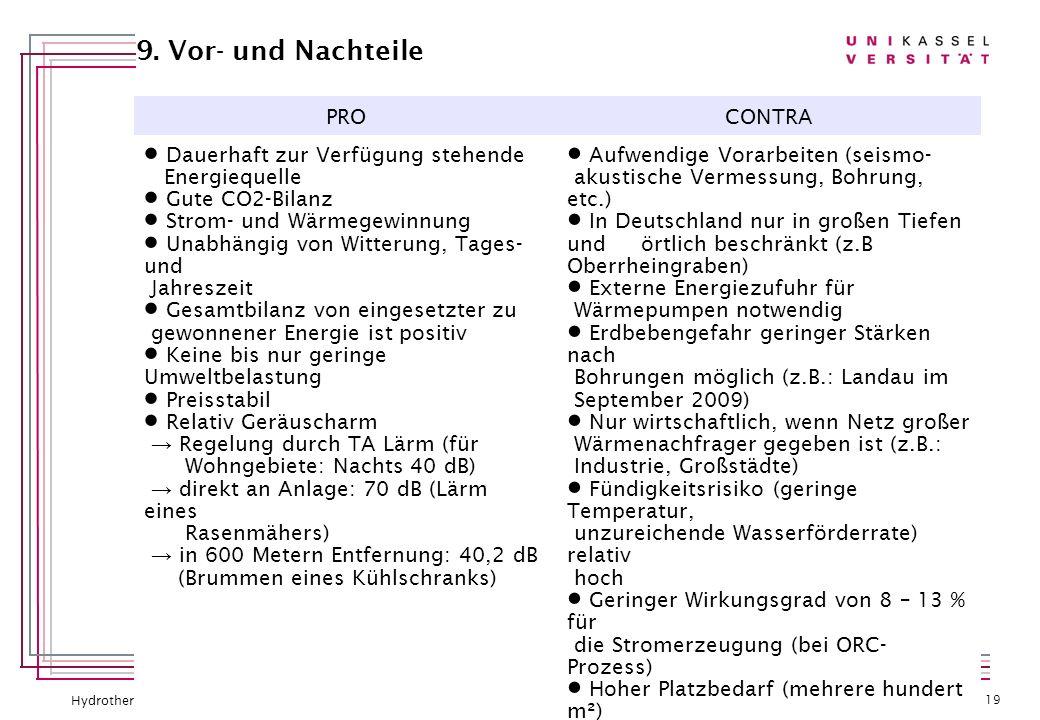 Hydrothermale Geothermie – Konstantin Kirsch 27.07.12 | 19 9. Vor- und Nachteile PROCONTRA Dauerhaft zur Verfügung stehende Energiequelle Gute CO2-Bil