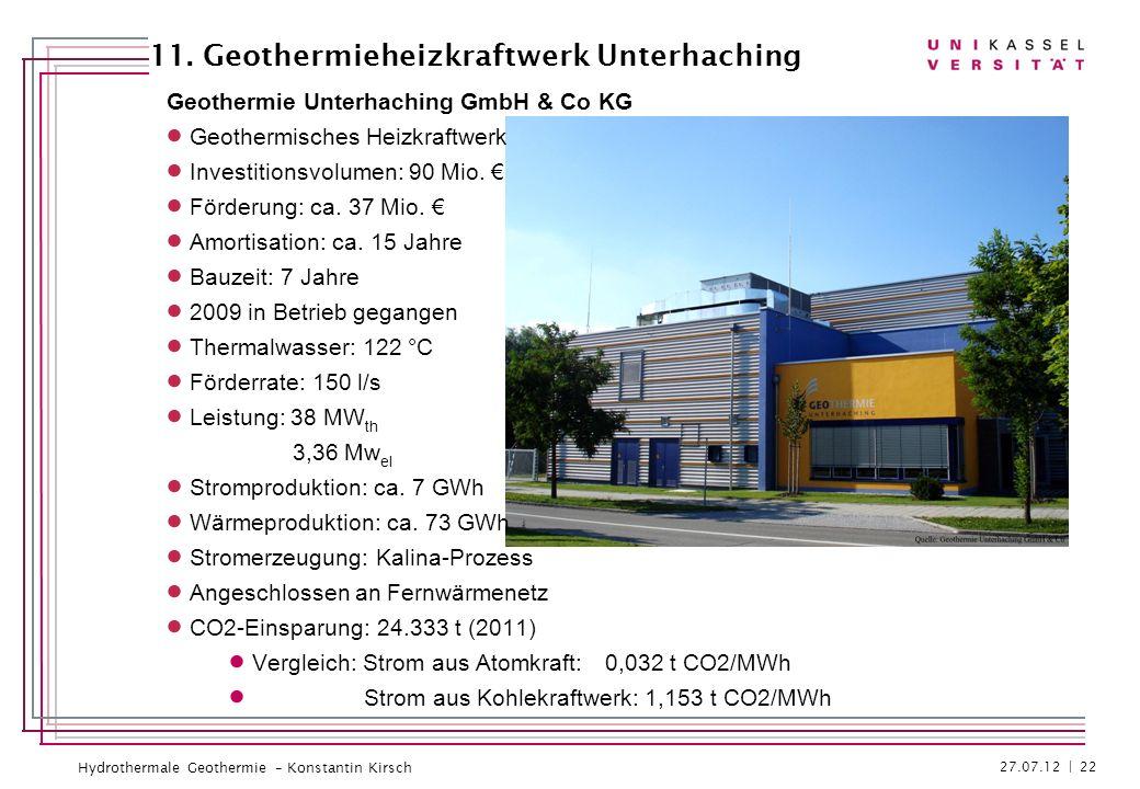 Hydrothermale Geothermie – Konstantin Kirsch Geothermie Unterhaching GmbH & Co KG Geothermisches Heizkraftwerk Investitionsvolumen: 90 Mio. Förderung: