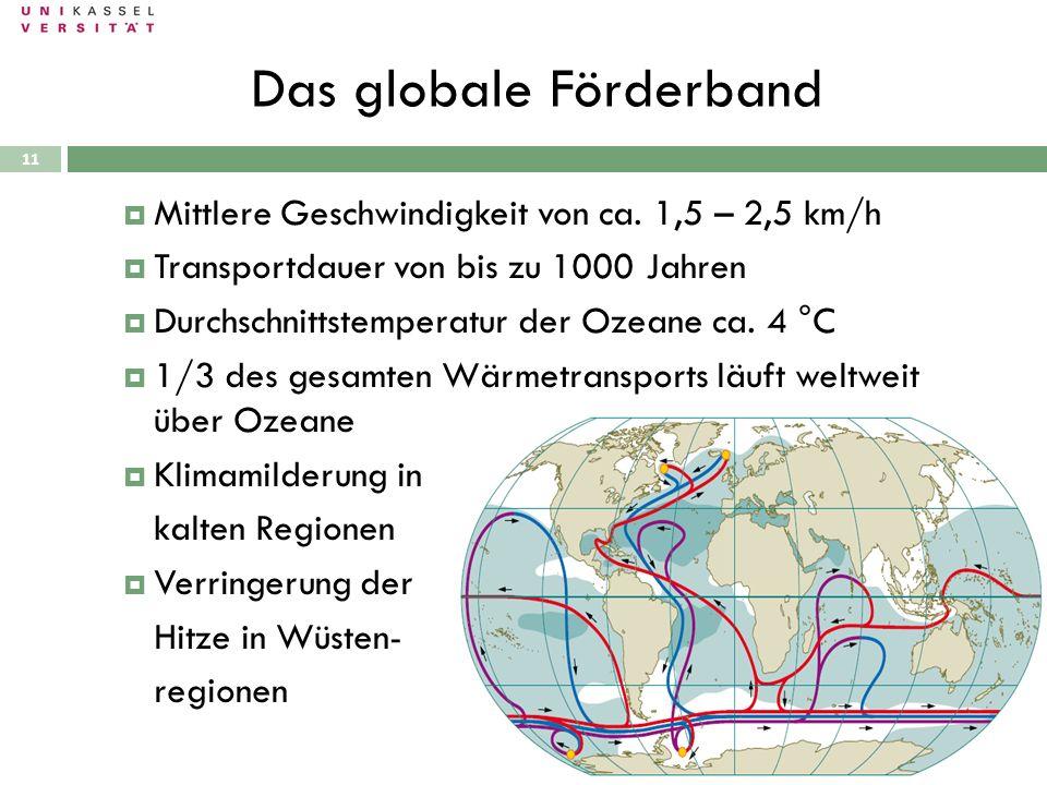 Das globale Förderband 28.09.2010 Mittlere Geschwindigkeit von ca. 1,5 – 2,5 km/h Transportdauer von bis zu 1000 Jahren Durchschnittstemperatur der Oz