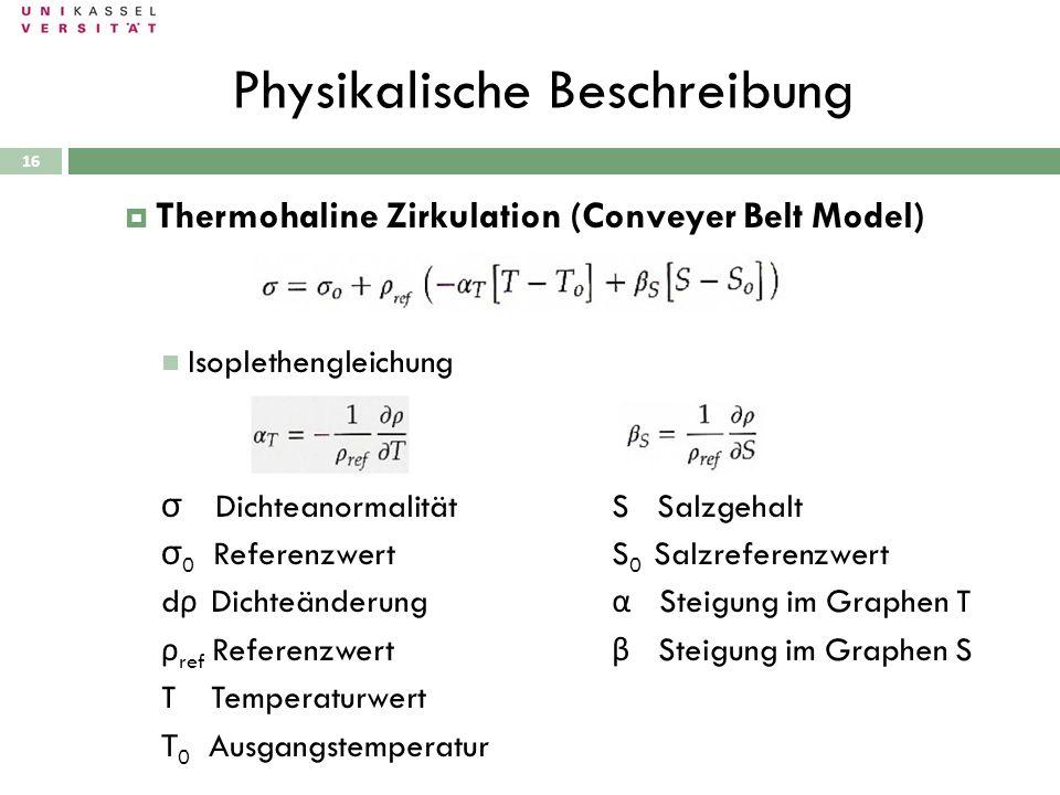 Physikalische Beschreibung 28.09.2010 Thermohaline Zirkulation (Conveyer Belt Model) Isoplethengleichung σ DichteanormalitätS Salzgehalt σ 0 Referenzw
