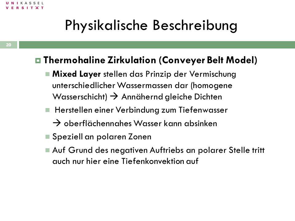 Physikalische Beschreibung 28.09.2010 Thermohaline Zirkulation (Conveyer Belt Model) Mixed Layer stellen das Prinzip der Vermischung unterschiedlicher