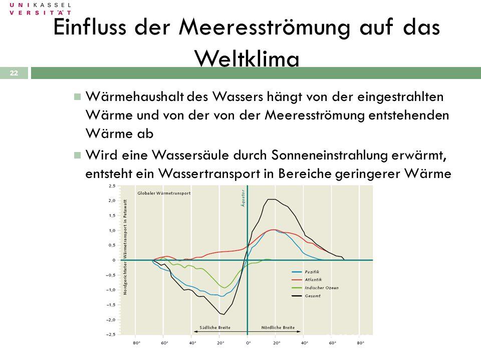 Einfluss der Meeresströmung auf das Weltklima 28.09.2010 22 Wärmehaushalt des Wassers hängt von der eingestrahlten Wärme und von der von der Meeresstr