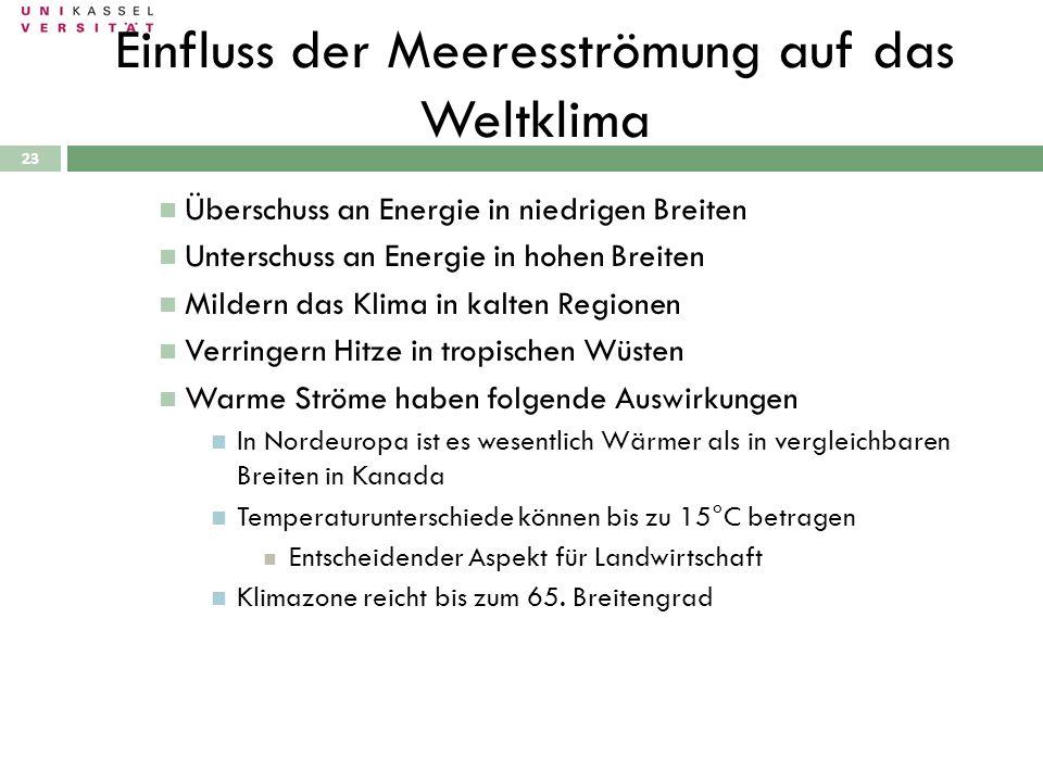 28.09.2010 23 Überschuss an Energie in niedrigen Breiten Unterschuss an Energie in hohen Breiten Mildern das Klima in kalten Regionen Verringern Hitze