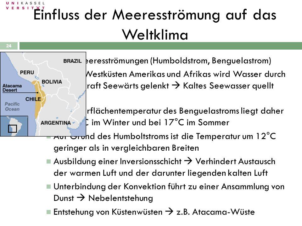 28.09.2010 24 Kalte Meeresströmungen (Humboldstrom, Benguelastrom) An den Westküsten Amerikas und Afrikas wird Wasser durch Corioliskraft Seewärts gel