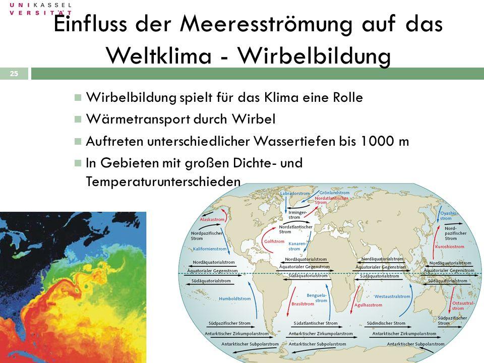 25 Wirbelbildung spielt für das Klima eine Rolle Wärmetransport durch Wirbel Auftreten unterschiedlicher Wassertiefen bis 1000 m In Gebieten mit große