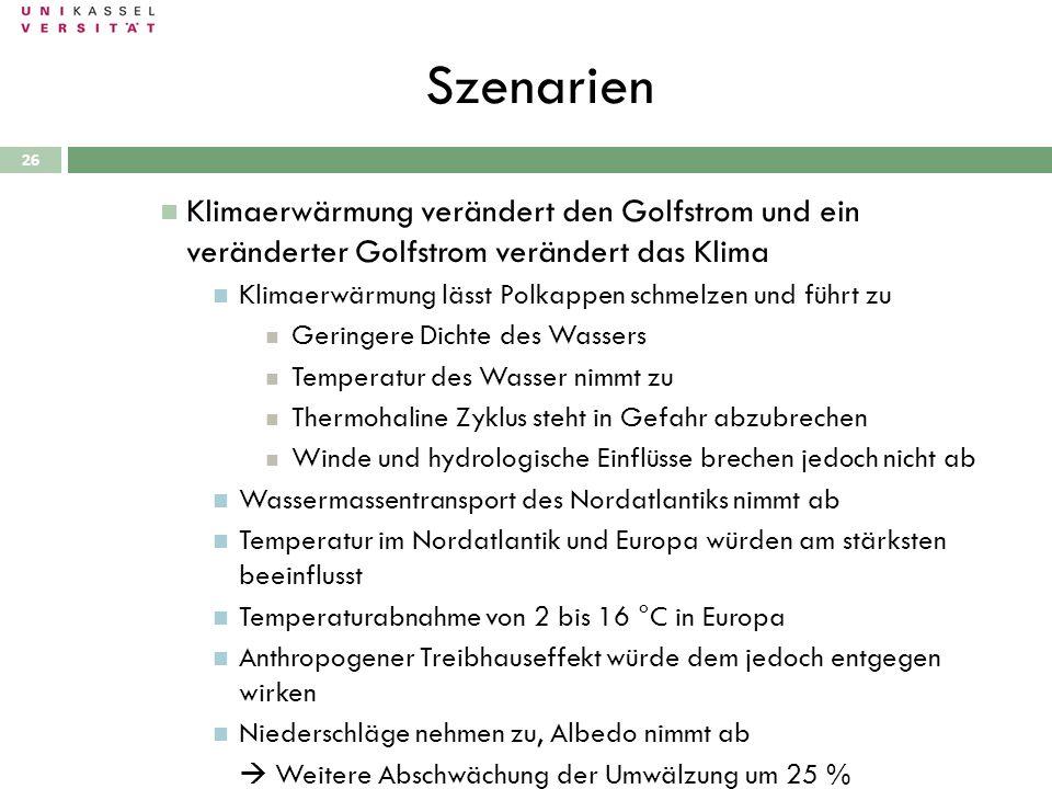 Szenarien 28.09.2010 26 Klimaerwärmung verändert den Golfstrom und ein veränderter Golfstrom verändert das Klima Klimaerwärmung lässt Polkappen schmel