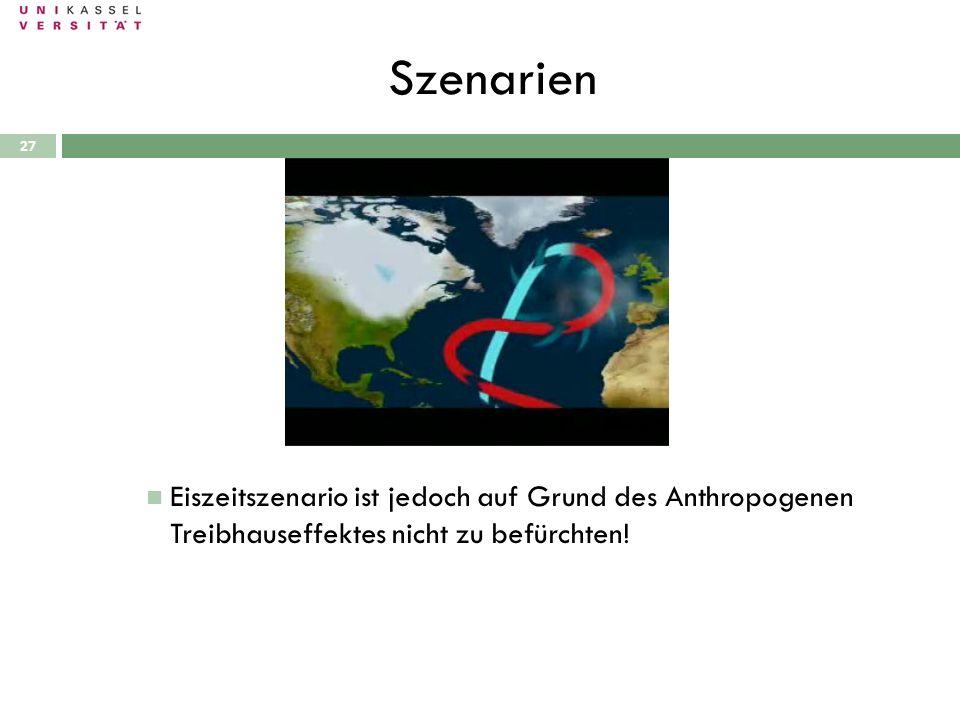 Szenarien 28.09.2010 27 Eiszeitszenario ist jedoch auf Grund des Anthropogenen Treibhauseffektes nicht zu befürchten!