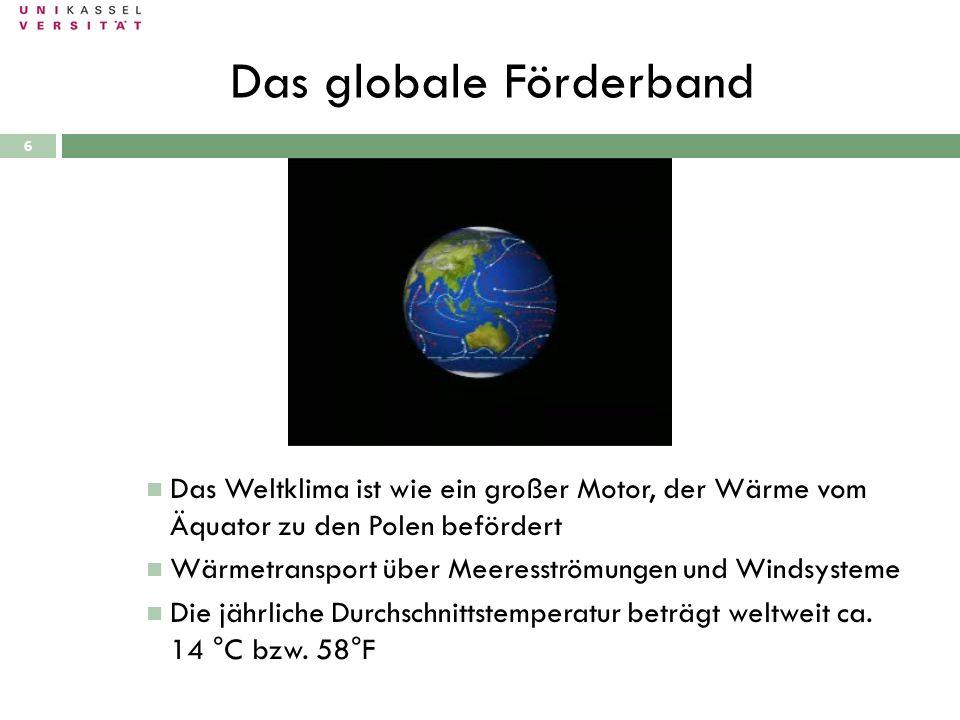 Das globale Förderband 28.09.2010 Das Weltklima ist wie ein großer Motor, der Wärme vom Äquator zu den Polen befördert Wärmetransport über Meeresström