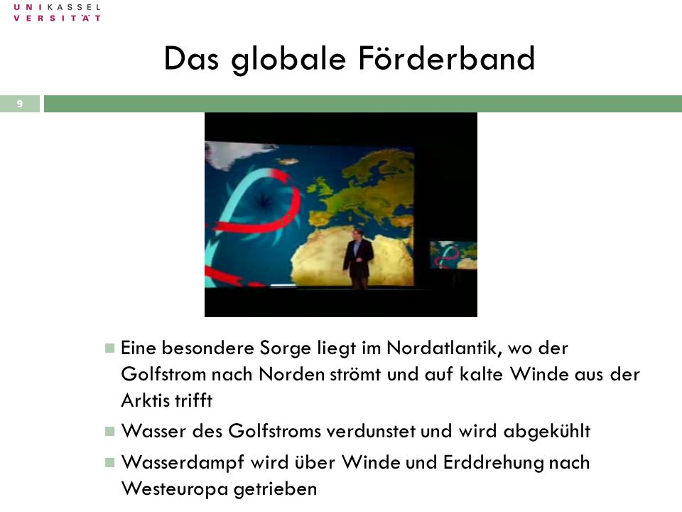 Das globale Förderband 28.09.2010 Eine besondere Sorge liegt im Nordatlantik, wo der Golfstrom nach Norden strömt und auf kalte Winde aus der Arktis t