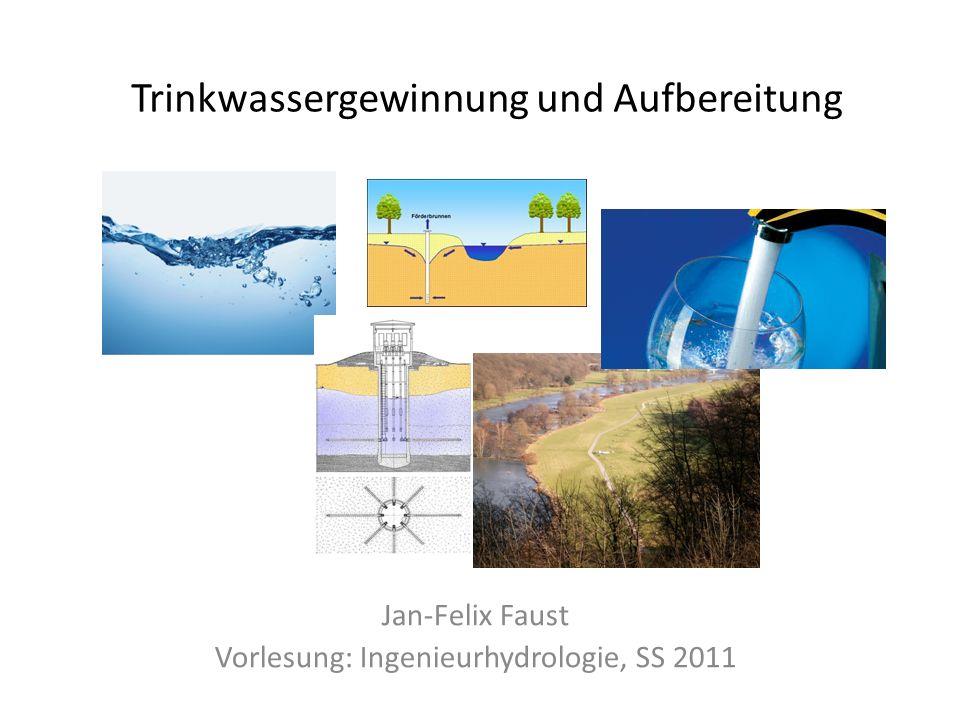 Gliederung des Vortrags Trinkwassergewinnung – Einführung – Gewinnung aus Grundwasser – Gewinnung aus Oberflächenwasser Trinkwasseraufbereitung – Trinkwasserverordnung – Aufbereitung von Grundwasser – Aufbereitung von Oberflächenwasser Trinkwassergewinnung und Aufbereitung