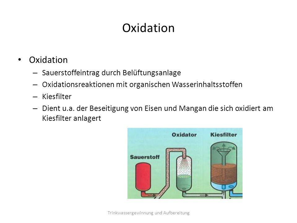 Oxidation – Sauerstoffeintrag durch Belüftungsanlage – Oxidationsreaktionen mit organischen Wasserinhaltsstoffen – Kiesfilter – Dient u.a. der Beseiti