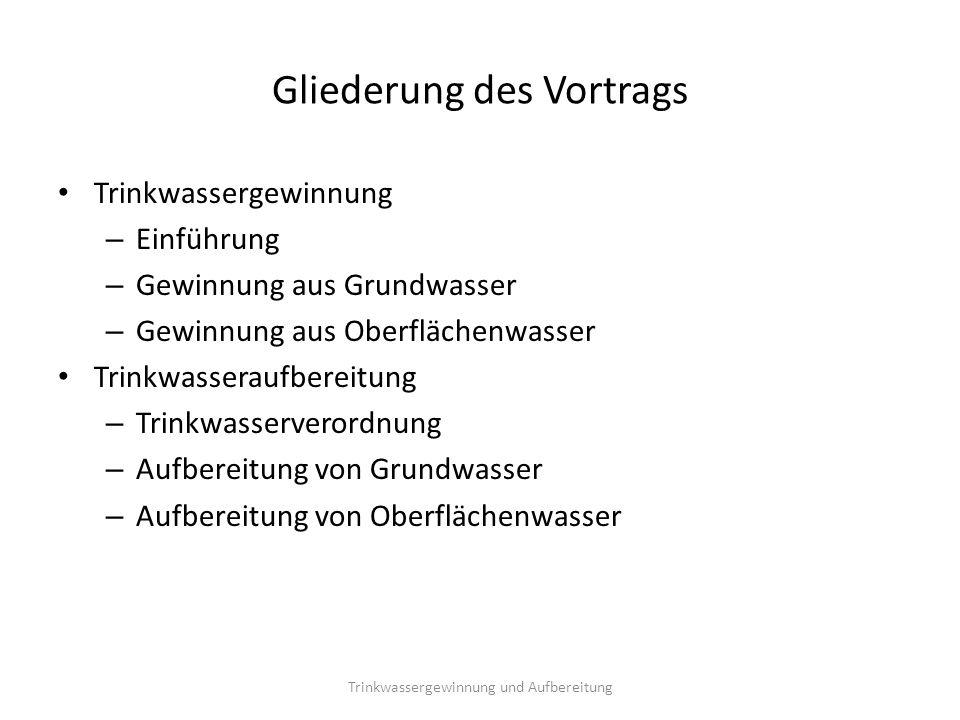 Trinkwassergewinnung - Einführung In Deutschland verschiedene Herkunftsarten des Rohwassers Wichtigste Herkunftsarten: Grundwasser/Quellwasser sowie Oberflächenwasser Trinkwassergewinnung und Aufbereitung