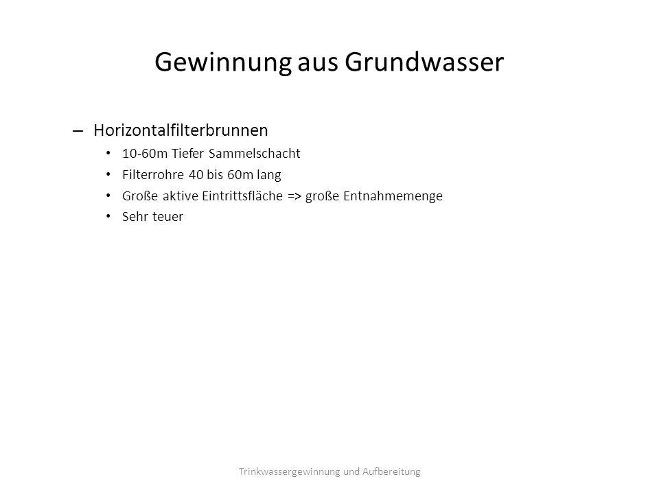 Gewinnung aus Grundwasser – Horizontalfilterbrunnen 10-60m Tiefer Sammelschacht Filterrohre 40 bis 60m lang Große aktive Eintrittsfläche => große Entn