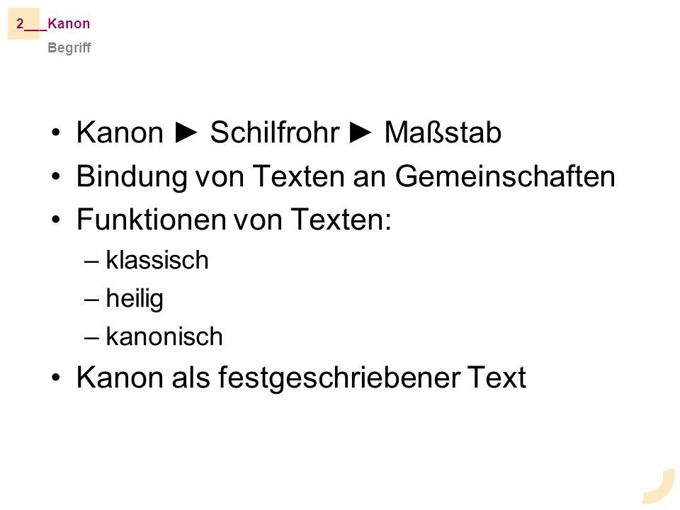Kanon Schilfrohr Maßstab Bindung von Texten an Gemeinschaften Funktionen von Texten: –klassisch –heilig –kanonisch Kanon als festgeschriebener Text Begriff _Kanon2__