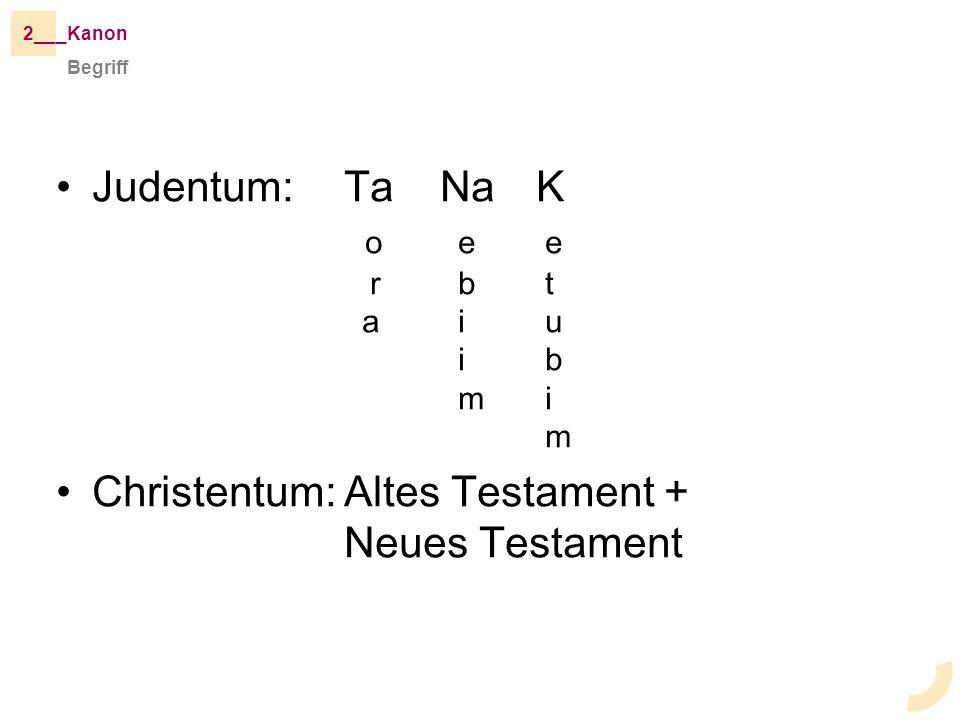 Judentum: TaNaK o e e r b t a i u i b m i m Christentum:Altes Testament + Neues Testament Begriff _Kanon2__