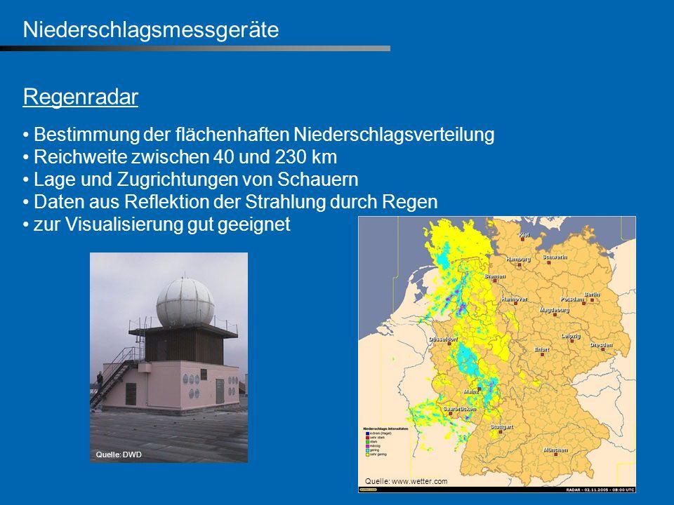 Niederschlagsmessgeräte Regenradar Bestimmung der flächenhaften Niederschlagsverteilung Reichweite zwischen 40 und 230 km Lage und Zugrichtungen von S