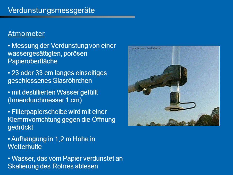 Verdunstungsmessgeräte Atmometer Messung der Verdunstung von einer wassergesättigten, porösen Papieroberfläche 23 oder 33 cm langes einseitiges geschl